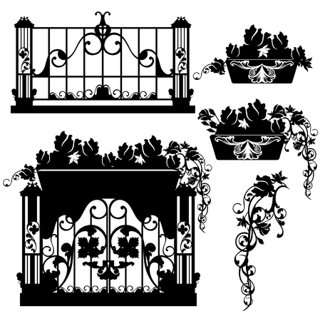 balcony with rose flowers - black and white vector design set