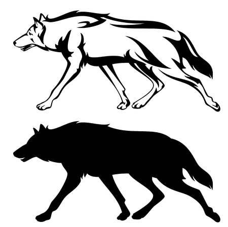 wolves: running wolf outline and silhouette - black and white vector design Illustration