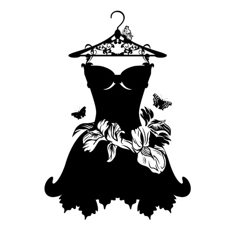 clothes hangers: little black dress with iris flowers and butterflies - black and white vector design