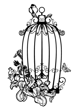 flowers on white: opened bird cage among iris flowers and butterflies - black and white vector design