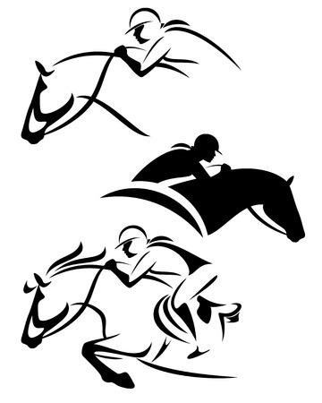 vrouwelijke ruiter - springen paard overzicht en silhouet zwart en wit vector set