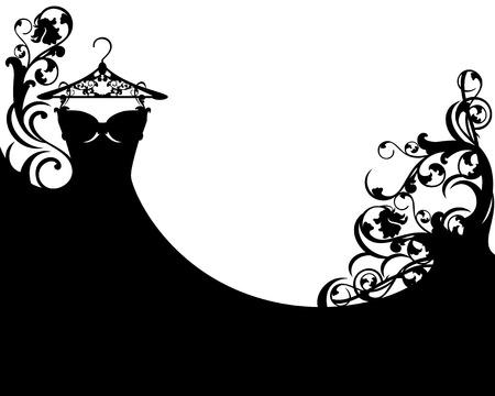 black dress floral design - vector background template 矢量图像