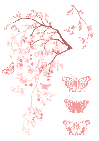 arbol de cerezo: floreciente ramas de árbol con mariposas volando - elemento de diseño vectorial Vectores