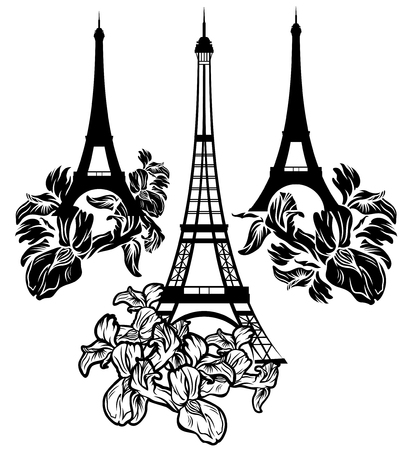 flower designs: eiffel tower among flowers - black and white vector design elements Illustration