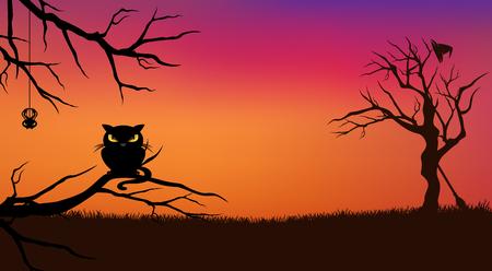 naranja arbol: Halloween de fondo vector de la noche con el gato negro y desnudas ramas de los �rboles retorcidos silueta