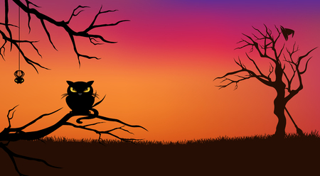 tree trunks: Halloween evening vector background with black cat and bare twisted tree branches silhouette
