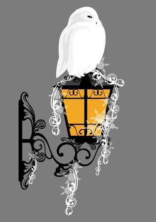 streetlight: snowy owl sitting on a streetlight among snowflakes - christmas theme vector design element