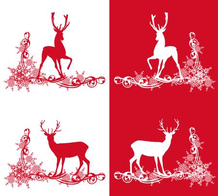 red deer: set of deers among snowflakes - christmas theme vector design elements