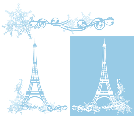Eiffel Tower: eiffel tower among snowflakes - vector design elements collection