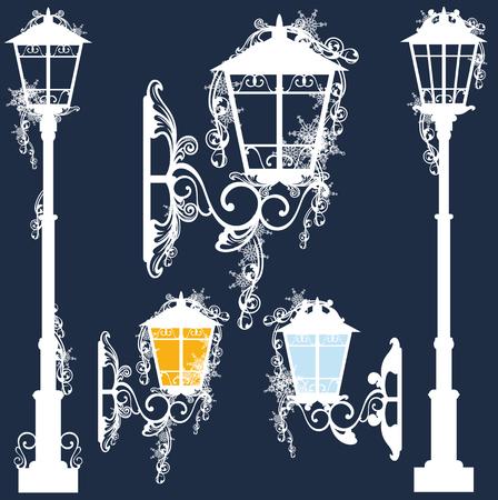 clipart street light: street lights covered with snow - winter season vector design set Illustration