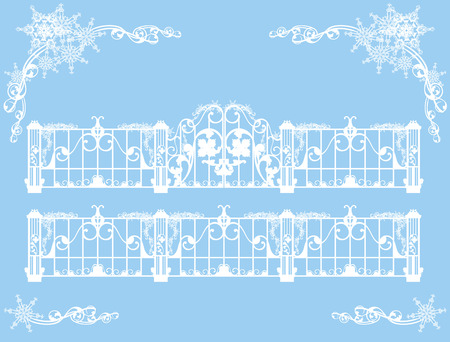 gates: gates and fence covered with snow - winter theme vector design set (editable elements)