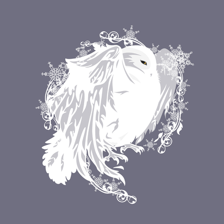 white winter: fairy tale snowy owl among snowflakes - vector design element