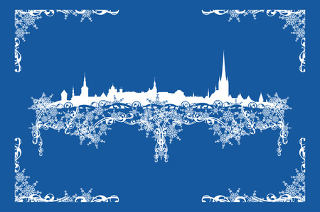rime frost: Tallinn city realistic skyline among festive snowflakes - vector silhouette of Estonian capital Illustration