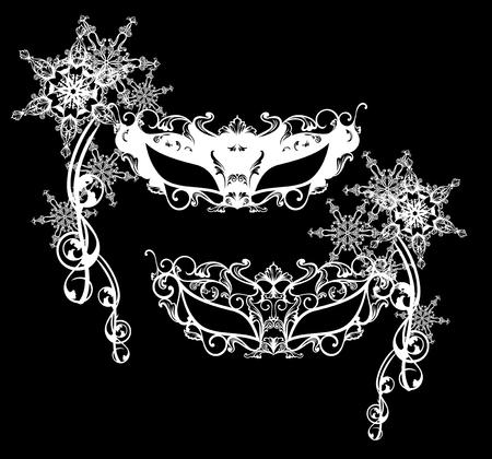 white mask: winter carnival masks vector design set - black and white editable outlines