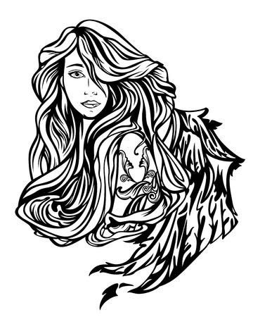 classical mythology character: beautiful winged woman with long hair black and white vector portrait