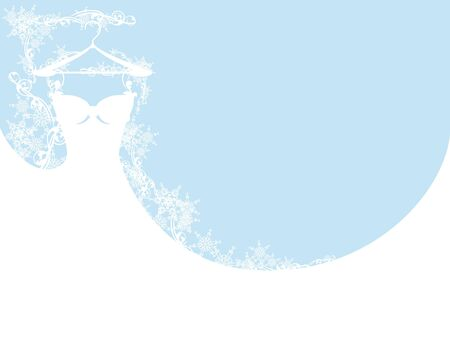 the spouse: wedding dress among snowflakes - vector design elements Illustration