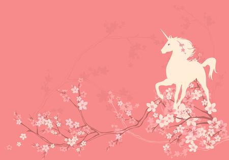 flor de sakura: hermoso unicornio de pie entre las ramas de la temporada de primavera de flores - vector de fondo de copyspace