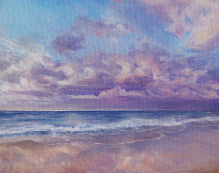 seaside at the sunset with cloudscape and sandy beach - oil painted on canvas Stock Photo
