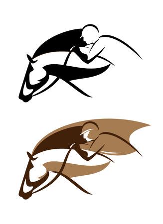 carreras de caballos: ecuestre emblema del deporte - jinete y la cabeza de caballo de diseño vectorial