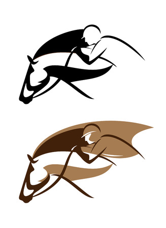 brown horse: equestrian sport emblem - horseman and horse head vector design