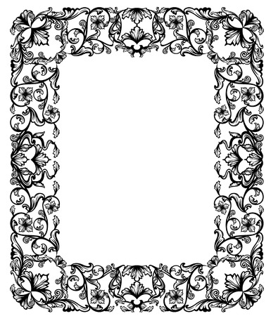 frame vintage: vintage style floral frame - black and white design
