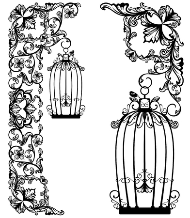 antique art: bird cage among floral decor - black and white garden design vector collection