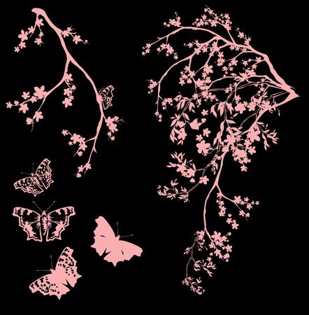 wingspread: spring garden with butterflies - tree branches with flowers vector design set Illustration