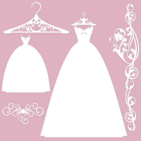 wedding dress design set - white vector silhouettes collection