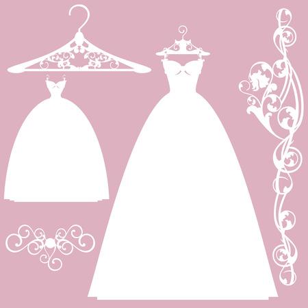 Brautkleid Design-Set - weiß Vektor-Silhouetten Sammlung