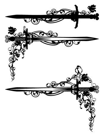 zwaard onder roze bloemen met vogel - zwart en wit vector design set
