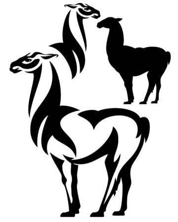 llama: standing llama black and white vector design set - outline and silhouette