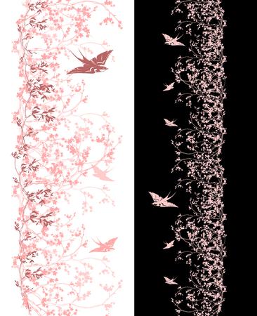 flor de sakura: cerezo de primavera la frontera sin problemas verticales - tonos de flores de color rosa sakura y tragar diseño de las aves