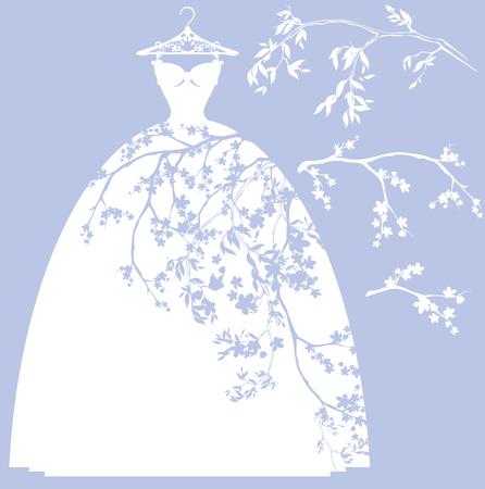 mariage conception robe set - silhouettes blanches de robe et de fleurs branches