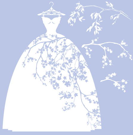 wedding dress design set - white silhouettes of gown and flower branches