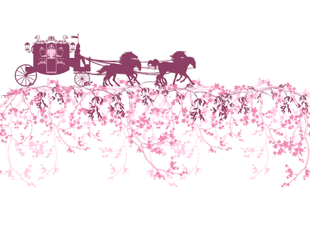 fairytale: horizontally seamless border with blooming branches, flowers and a carriage