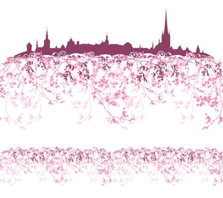 borde de flores: temporada de primavera ciudad de Tallin silueta entre las ramas en flor - horizontal sin fisuras elemento de diseño Vectores