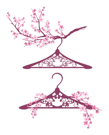 hangers: hangers among blooming branches - spring season fashion design vector set Illustration