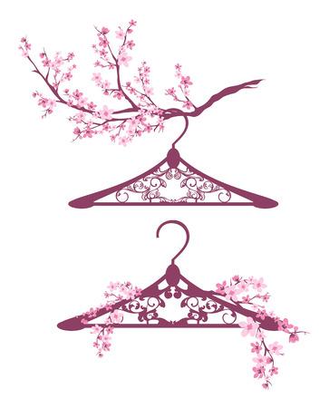 Kleiderbügel unter blühenden Zweigen - Frühling Mode-Design-Vektor-Set