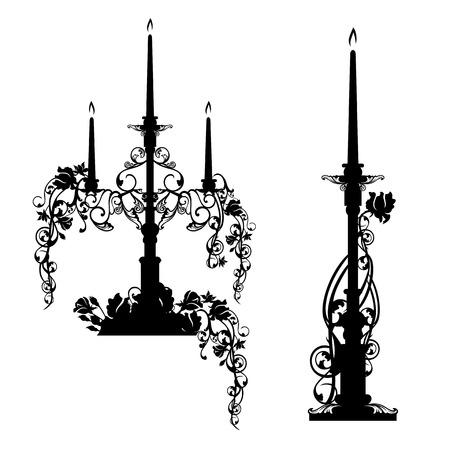 elegant candlesticks among rose flowers - black and white vector design set