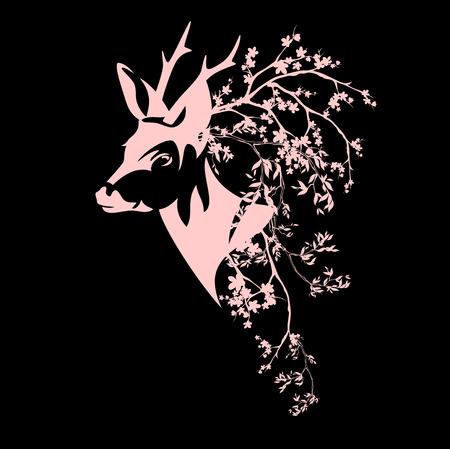 herten hoofd onder de bloeiende takken - voorjaar vector design