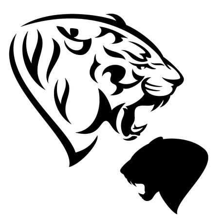 panthera: roaring tiger - black and white animal head design and silhouette