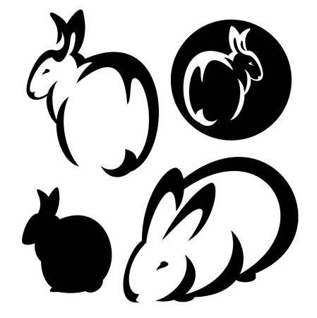 rabbit ears: cute rabbits design set - black and white vector outlines and silhouette collection