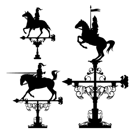 weathercock: weather vane collection - knights riding horses vector design set