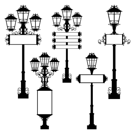 lamp on the pole: street lights with blank signs - black and white vector design set