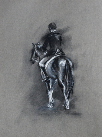 uomo a cavallo: cavaliere a cavallo - Sport pastello equina e schizzo a carboncino su carta ruvida