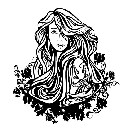long black hair: beautiful woman with long hair among rose flowers - black and white vector design