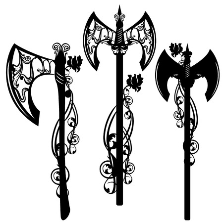 halberd: battle axe design set - weapon among rose flowers black and white vector collection