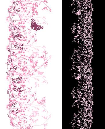 borde de flores: cerezo de primavera la frontera sin problemas verticales - tonos de color rosa flores de cerezo y mariposas