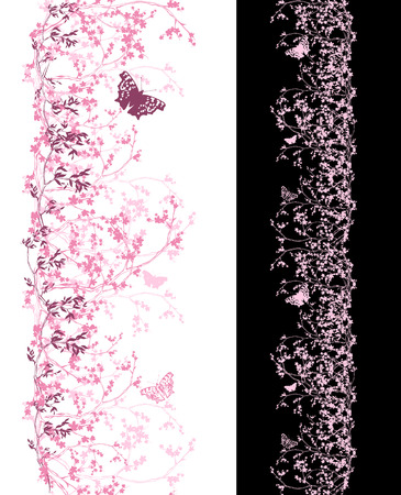 tree vertical: spring cherry tree vertical seamless border - shades of pink sakura flowers and butterflies