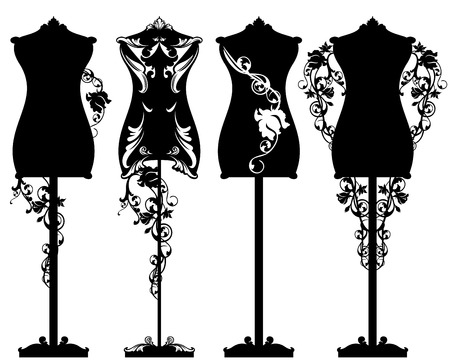 dress form: Tailor mannequin among rose flowers design set - black and white detailed luxurious outlines and silhouette Illustration